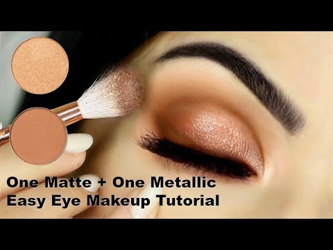 Beginners Eye Makeup Tutorial Using One Matte and One Metallic | How To Apply Eyeshadow thumbnail
