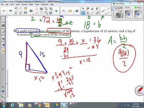 Area of Triangles, Trapezoids, Rhombi