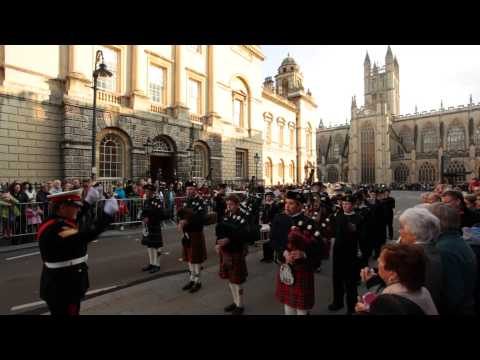 Downside School Band - Remembrance Day Parade - Bath - 2014