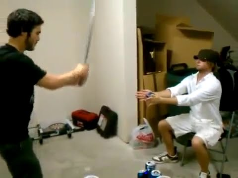 Beer + Samurai Sword = Blood!