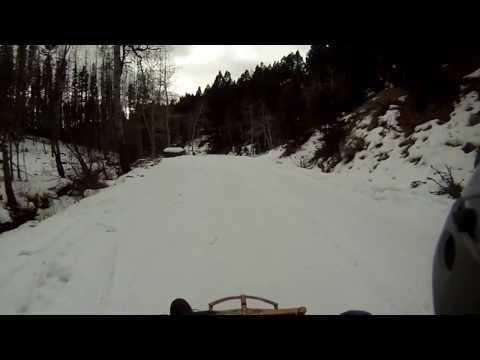 Longest sled ride EVER, super fast too.  Sled riding Montana mountains 2013