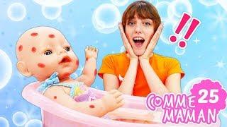 Vidéo en français pour enfants. Comme maman № 25 - une allergie de bébé born Emily