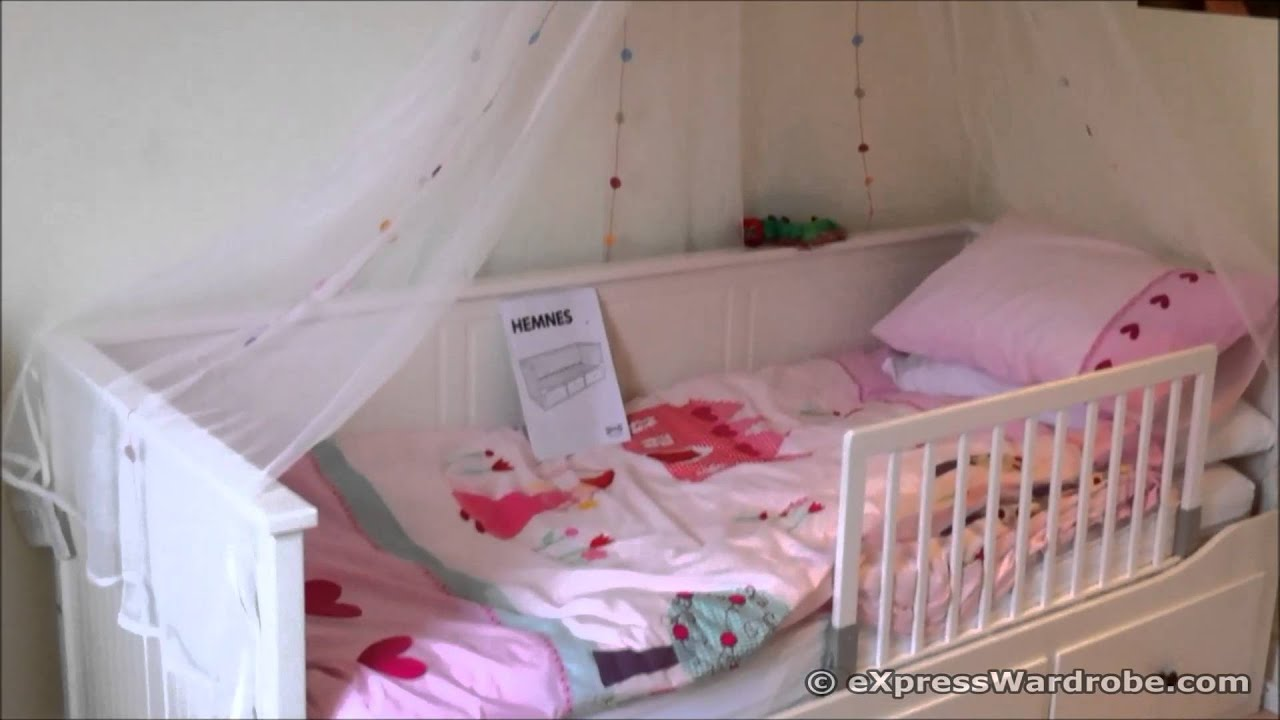 Ikea day beds hemnes home design ideas - Ikea Hemnes Day Bed Design With Canopy And Bed Guard Rail For Kids Youtube
