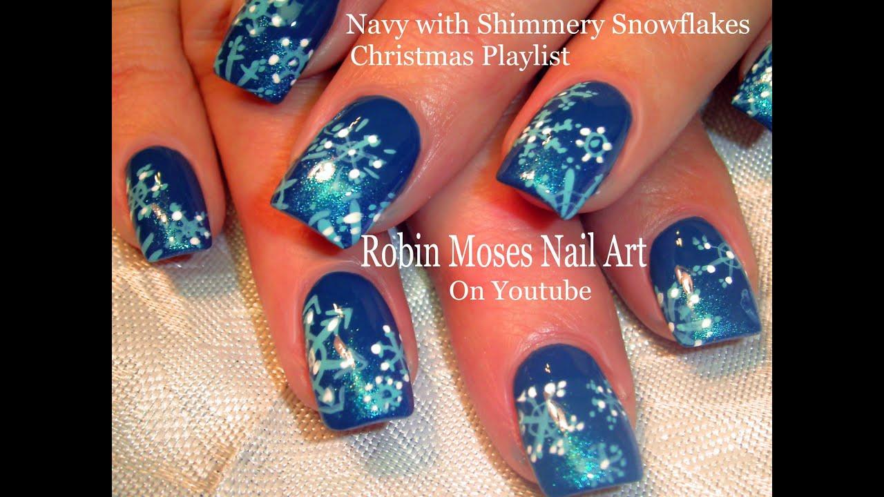 easy snowflake nails gradient