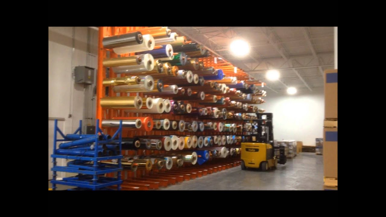 heavy duty cantilever storage rack system used for storing large paper rolls