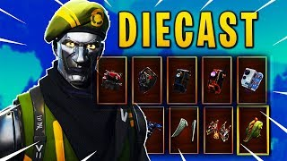 "Fortnite Showcase: BRAND NEW ""DIECAST"" SKIN with 24 BACK BLINGS/ BACKPACKS 