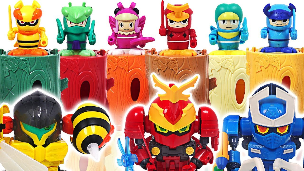 Bugs Ninja butterfly, scarab, spider and insect transform meca go! Defeat the dinosaurs! #DuDuPopTOY
