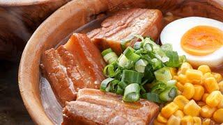 焚き火で作る豚の角煮味噌ラーメン