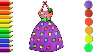How To Draw A Wonderfull Dress For Girls, Coloring Book Clothes For Kids | Art Colors for Kids