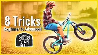BEST MOUNTAIN BIKE TRICKS TO LEARN ANYWHERE!!  😁// 8 mtb tricks Easy to Hard