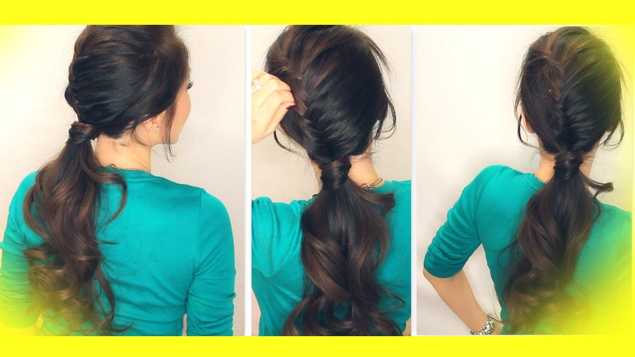 SCHOOL HAIRSTYLE TUTORIAL | HALF FRENCH FISHTAIL BRAID ...