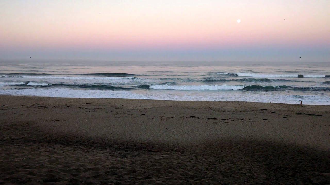 Early Morning Full Moon At Marina Beach Ca