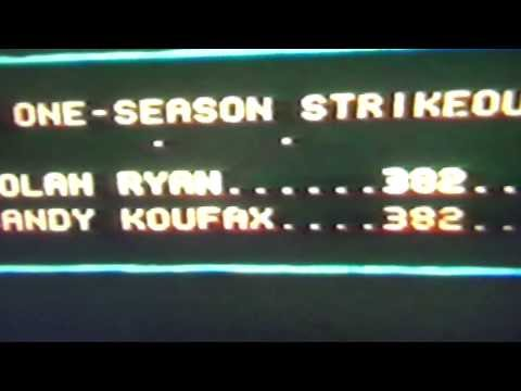 Nolan Ryan Breaks Sandy Koufax Strikeout Record of 382 K