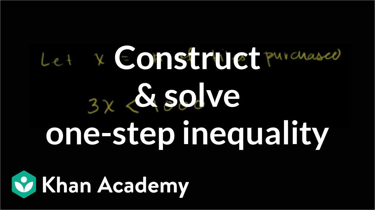 Constructing and solving a one-step inequality | Linear inequalities | Algebra I | Khan Academy