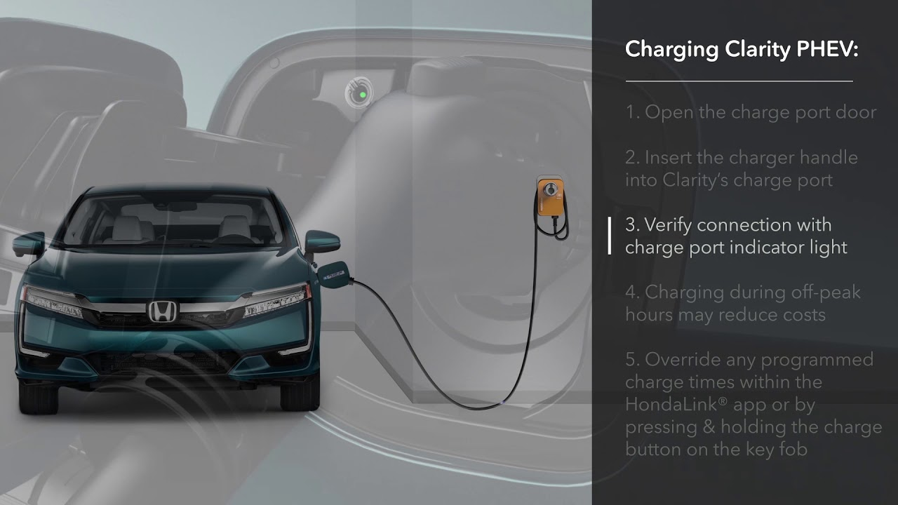 How To Charge The Honda Clarity Plug In Hybrid Using An Home Level 2 Charger