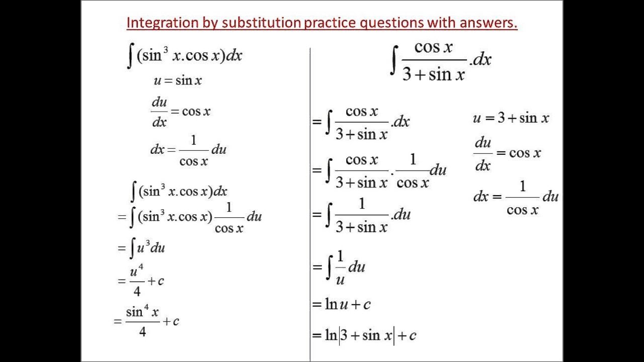 Calculus worksheets on integration