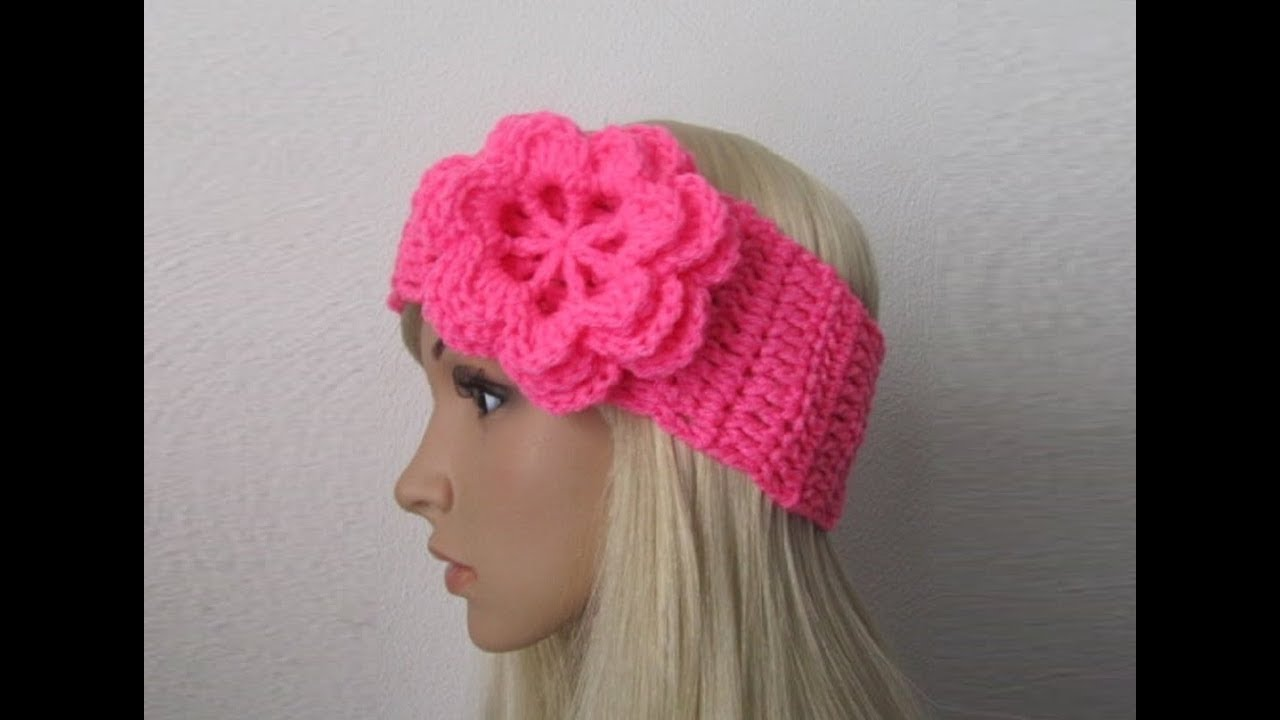 How to Crochet Earwarmer/Headband with a Flower Pattern #3 ...