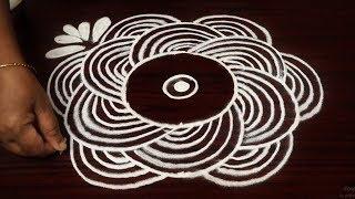 Simple rangoli design round | easky kolam design with 5x3 dots | padi muggulu