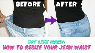 DIY Life Hack| How To Resize Your Jean Waist(Elastic method)| Within ...