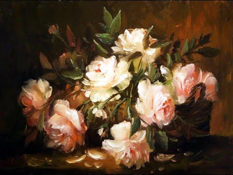#28 КОРЗИНА С РОЗАМИ. Как нарисовать розы в корзине маслом  цветы маслом. Цветы букет маслом