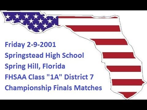 "Friday 2-9-2001- FHSAA Class ""1A"" District 7 Wrestling-Championship Finals For 1st & 2nd Place"