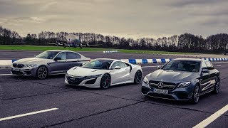 Honda NSX vs BMW M5 Competition vs Mercedes-AMG E 63 S | Drag Races | Top Gear