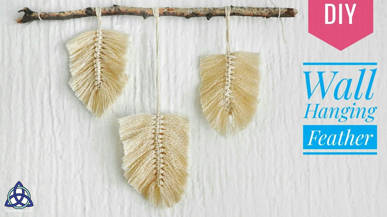 How To Make Macrame Feather Wall Hanging Wall Decor Diy