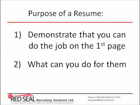 How to Write a Canadian Resume (Part 1) Purpose of a Resume - YouTube