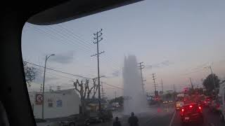 Water touches the power line