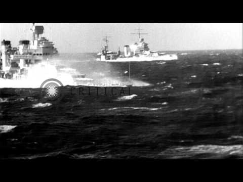 Three U.S. warships of Cruiser Division 7 encounter rough seas near Cape Horn dur...HD Stock Footage