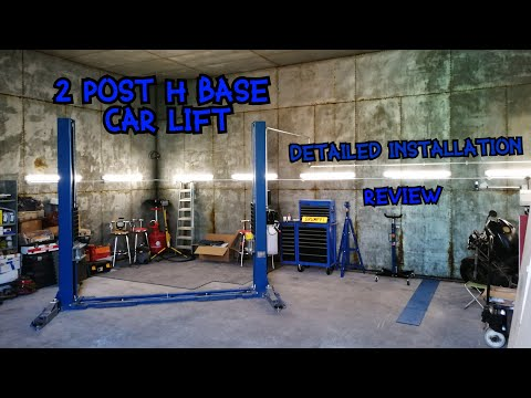 2 Post Car Lift Installation, Review And Adjustments. Automotech Garage Equipment H Base AS-235SBE