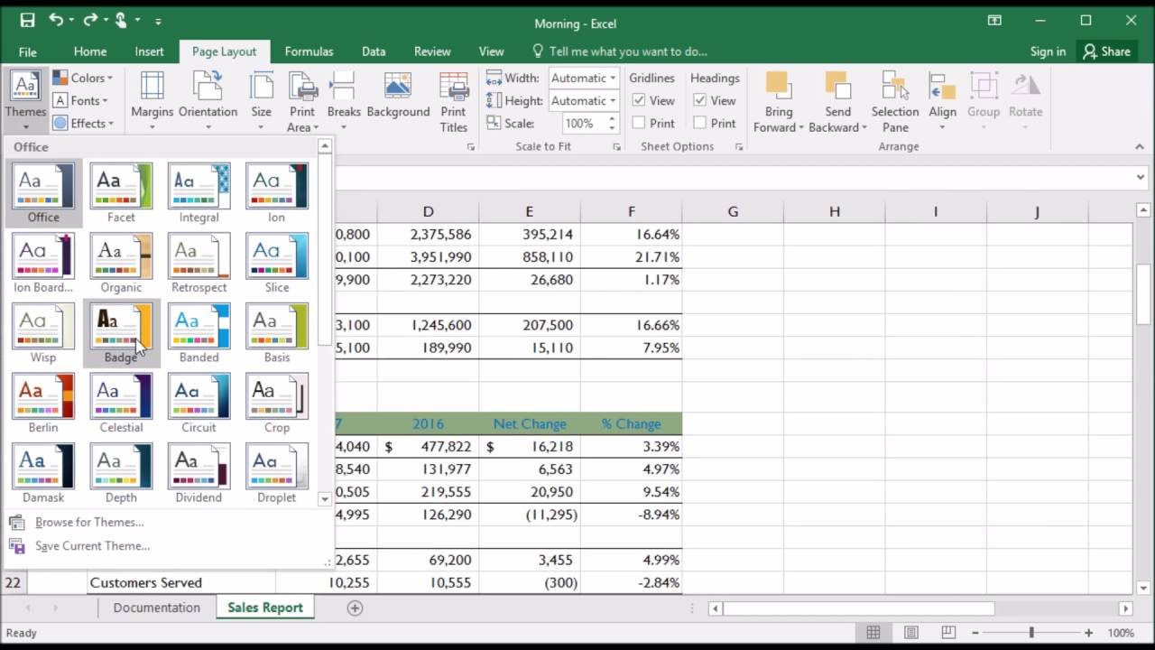 228 how to change workbook theme in excel 2016