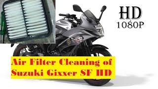 Air filter Cleaning of Suzuki Gixxer SF in Home