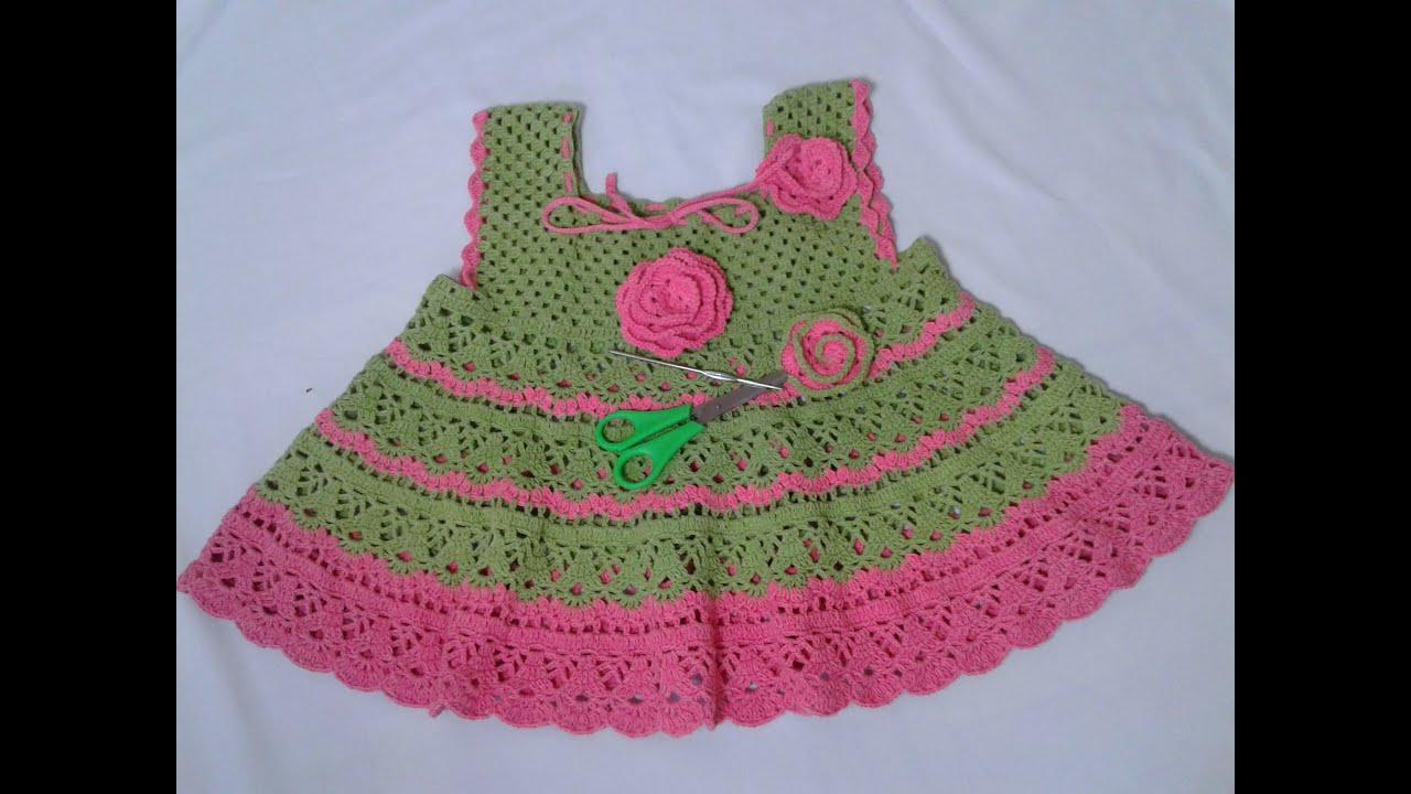 Vestido para niña a crochet cualquier talla paso a paso parte 2/3 ...