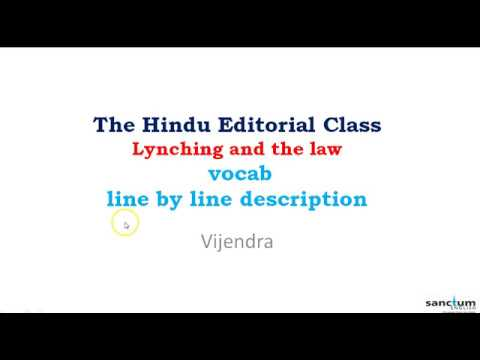 Stop Lynching   The Hindu Editorial Analysis   20th July   Lynchings and the law   BANK   SSC CGL  