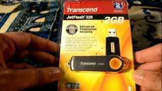 Unboxing Transcend Jet Flash 220..2Gb Biometric flash drive in urdu