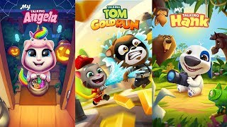 Talking Tom Gold Run vs My Talking Angela - My Talking Hank Gameplay