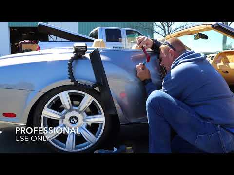 Luxury Car Dent Repair, glue pull paintless repair technique demonstrated on Bentley, Napa CA