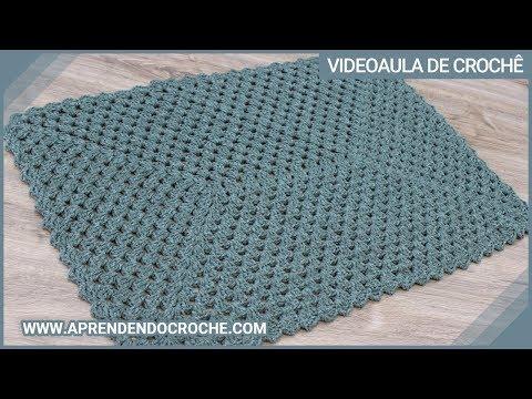 tapete de crochê simples cor azul