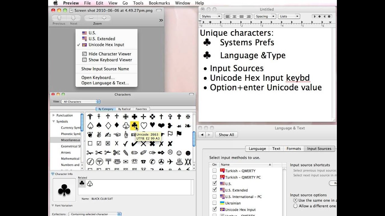 How to use unicode symbols images symbols and meanings mac os x keyboard unicode hex input youtube biocorpaavc biocorpaavc Gallery