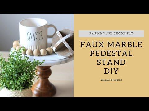 Faux Marble Pedestal Stand DIY   How to Paint Faux Marble   Farmhouse Decor