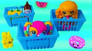Shopkins Blind Bags Mystery Surprise Kawaii Food Shopping Basket Fruits Veggies Toy Opening Review