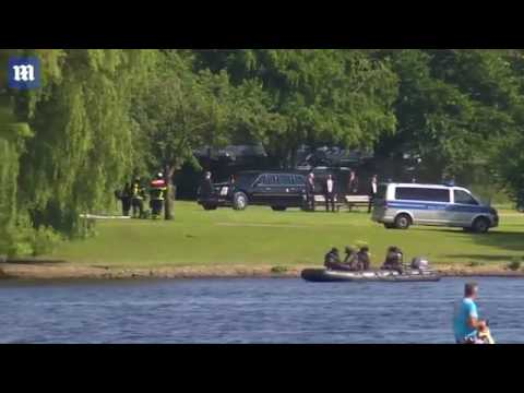 Trump arrives by helicopter at Hamburg residence for G20 summit