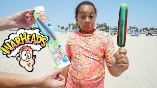 ICE CREAM CART! Warheads Sour Popsicle On The Beach