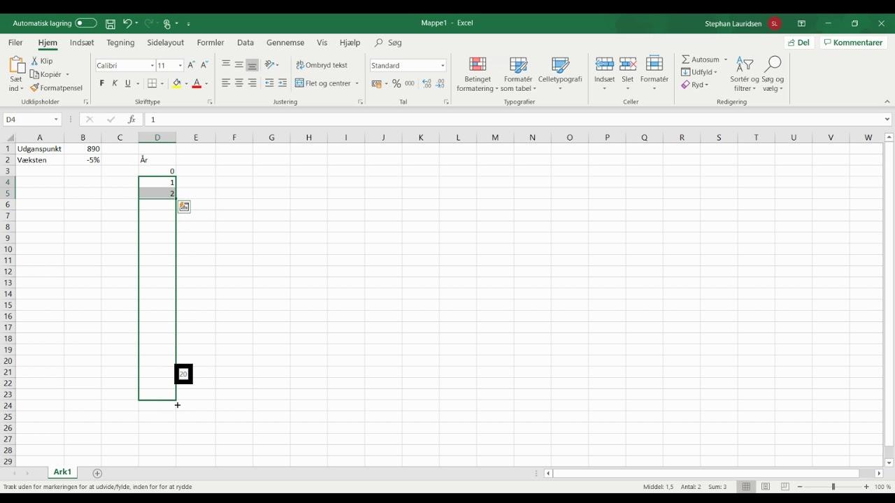 Vækst i Excel