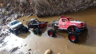 RC ADVENTURES - 3 Trail Trucks on a Fun Adventure - Group Trail Run - Scale 4x4 Trucks