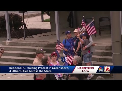 'Reopen NC' Demonstrators Take To Greensboro Streets To Push Governor To Lift More Restrictions O...