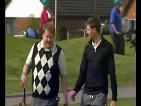 James Corden and Steven Gerrard Playing Golf