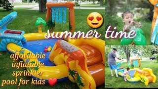 INTEX dinosaur play center set up and feedback #outdoorpool #sprinkler #poolforkids