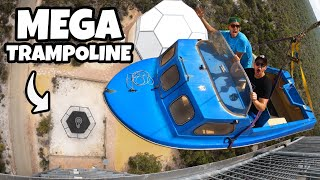 BOAT Vs. WORLD'S STRONGEST TRAMPOLINE from 45m!